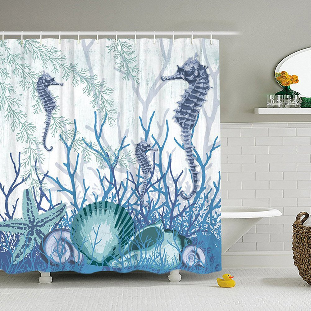 "QCWN Ocean Animal Decor Shower Curtain Tropical Fish nderwater Coral Reef Undersea World Waterproof Fabric Bathroom Shower Curtain with Hooks (1, 59"" x 70"") 59 x 70)"