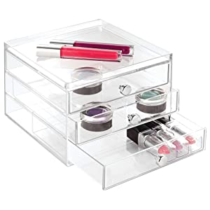 "iDesign 3-Drawer Plastic Vanity Organizer, Compact Slim Storage Organization Drawers Set for Cosmetics, Dental Supplies, Hair Care, Bathroom, Dorm, Desk, Countertop, Office, 6.5"" x 7"" x 5"", Clear"