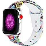 Cumeou Compatible Apple Watch Band/with Protective Case, Replacement Silicone Sport Bands Bracelet Strap Compatible with iwatch 38mm 42mm Series 3 2 1, Printed Wristband for Men Women Boys Girls
