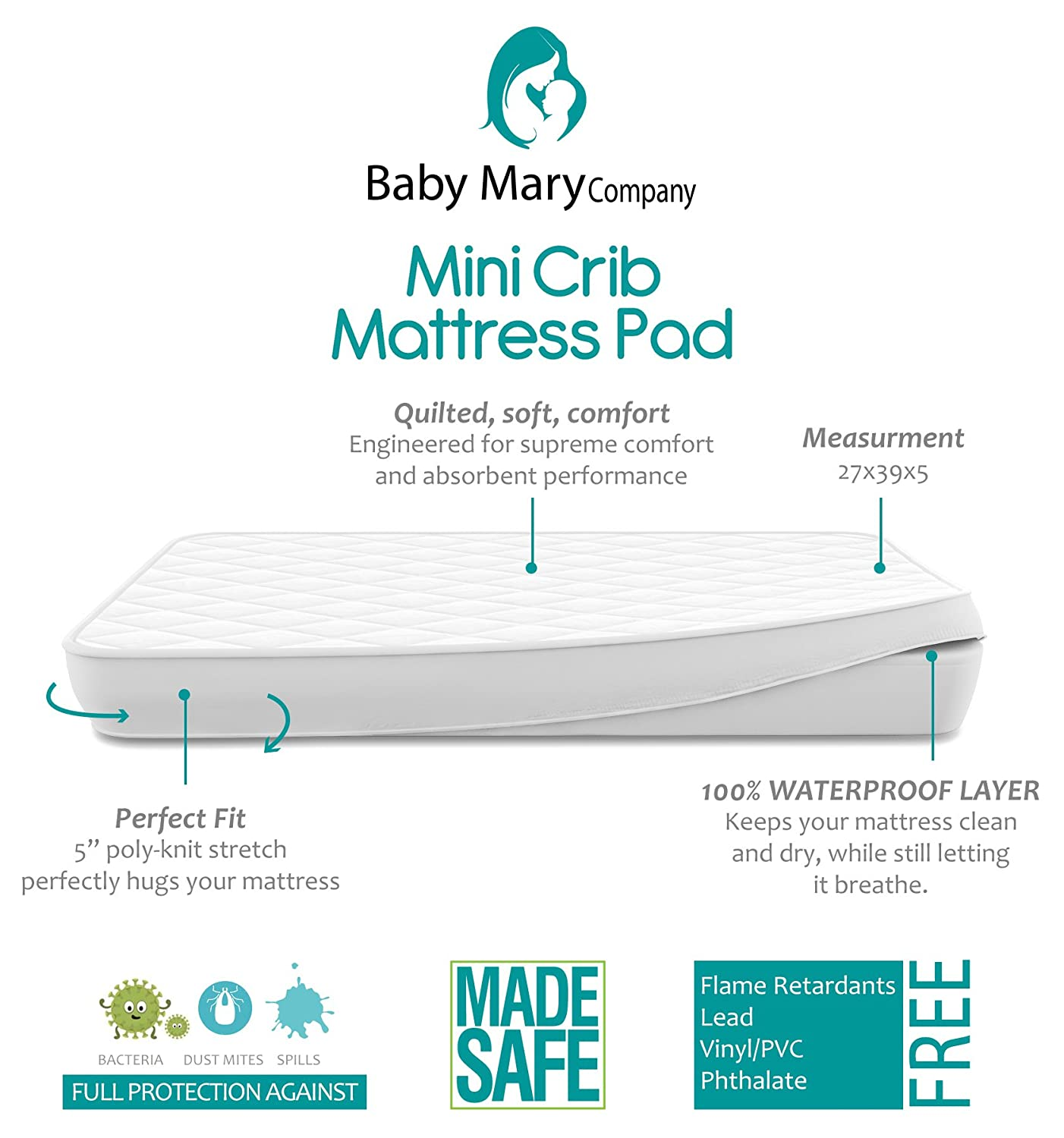 Amazon.com : BabyMaryCo Pack N Play Waterproof Crib Mattress Pad Cover FITS  ALL Mini&Foldable Mattresses Portable Cribs Dryer Safe & Hypoallergenic  Soft ...