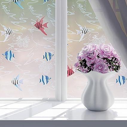 YOTHG Tropical Fish Samll Tree Musical Note Birdie Waterproof Glass Flower Window