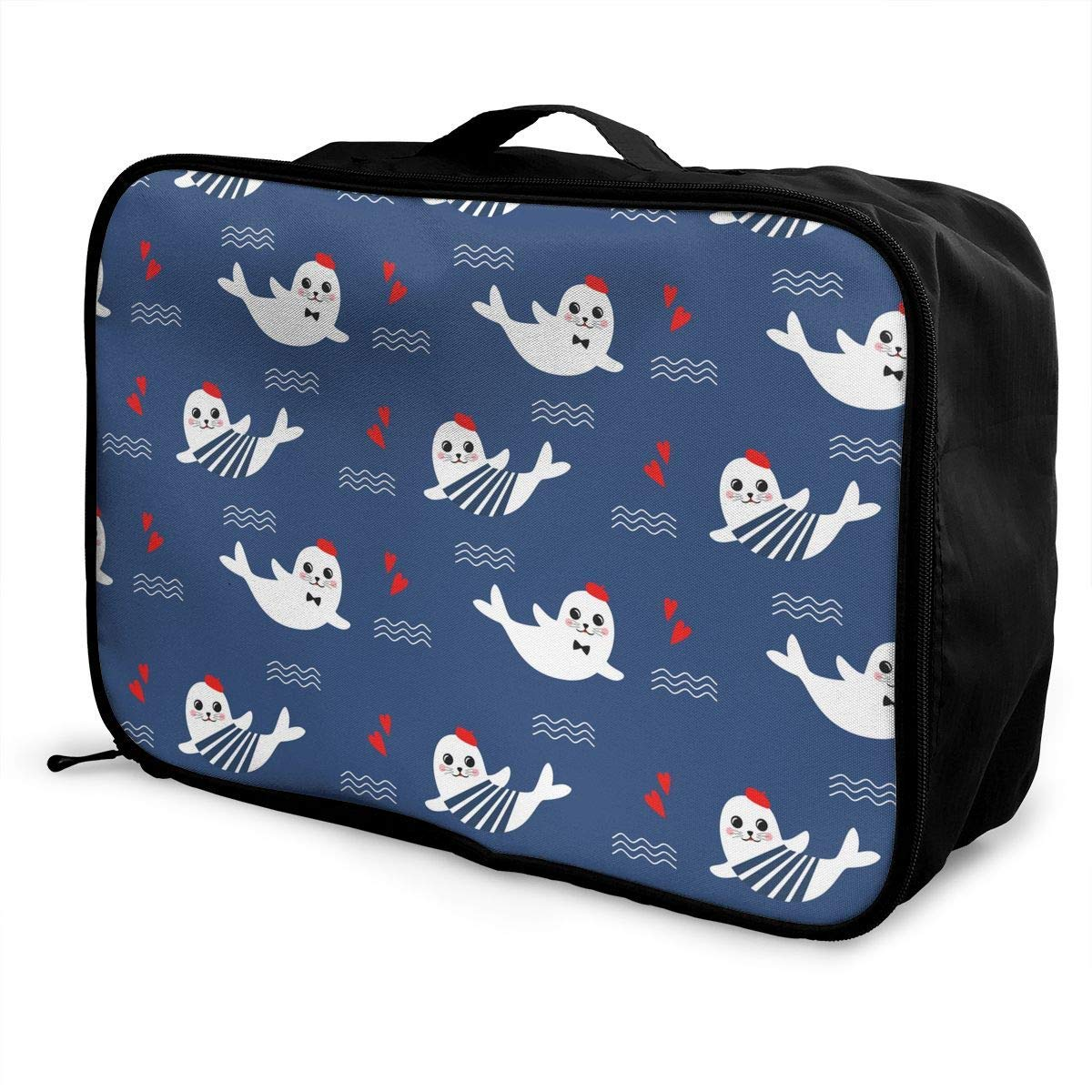 JTRVW Travel Luggage Trolley Bag Portable Lightweight Suitcases Duffle Tote Bag Handbag Cute Baby Fur Seal Pattern