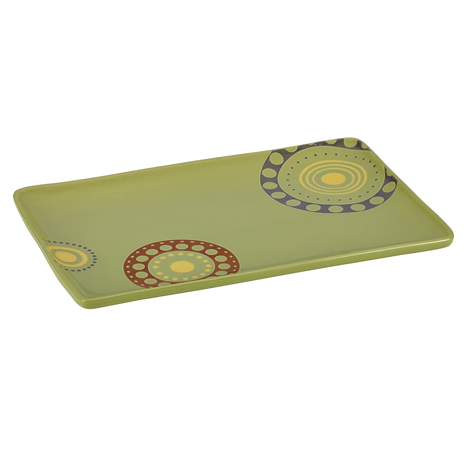 Rachael Ray Stoneware 12.75-Inch x8-1/4-Inch Circles and Dots Rectangular Serving Platter, Green