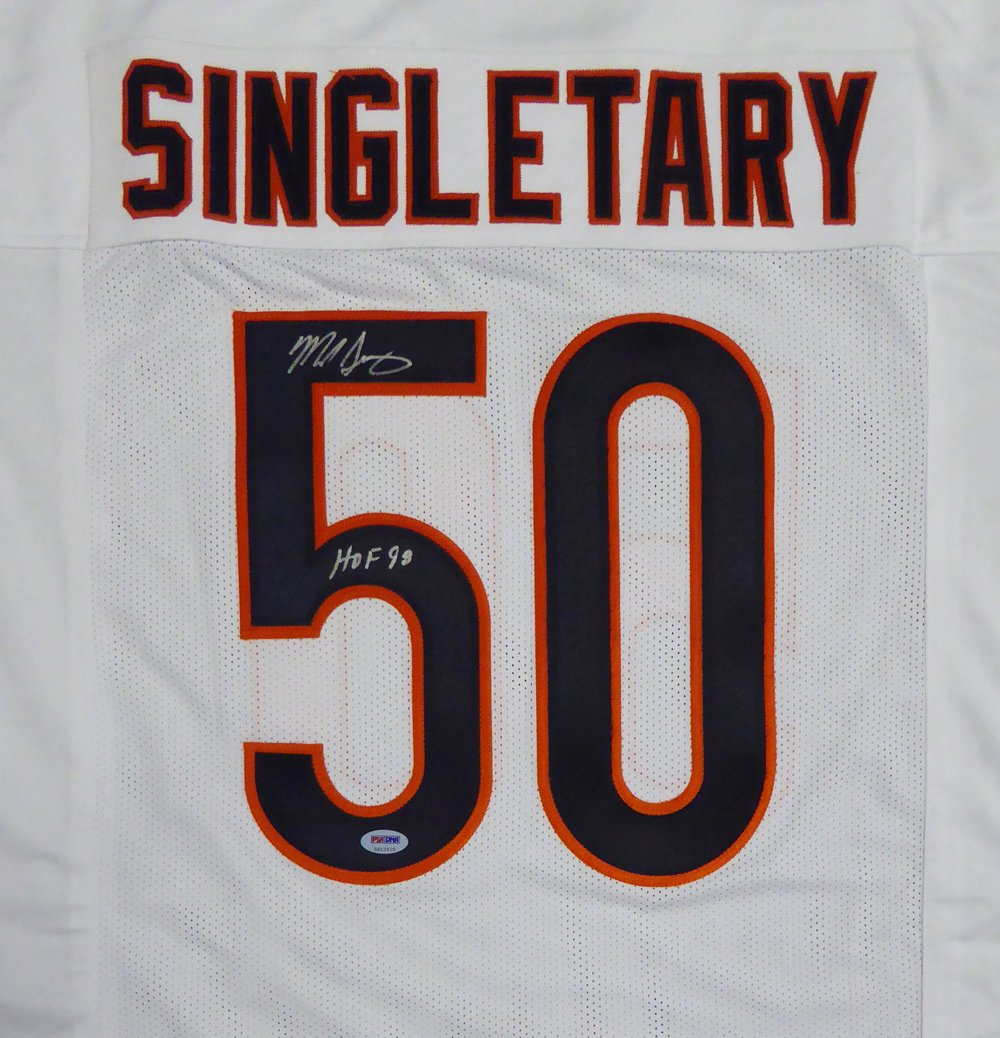 CHICAGO BEARS MIKE SINGLETARY AUTOGRAPHED WHITE JERSEY'HOF 98' PSA/DNA STOCK #122580