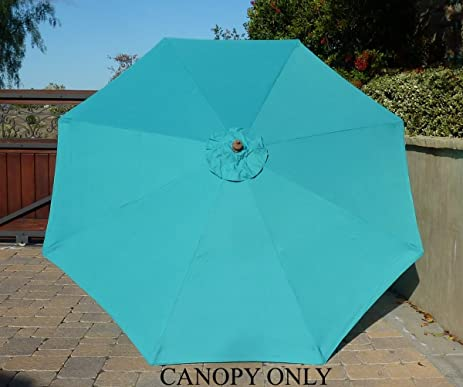 9ft Umbrella Replacement Canopy 8 Ribs in Turquoise Olefin (Canopy Only) & Amazon.com : 9ft Umbrella Replacement Canopy 8 Ribs in Turquoise ...