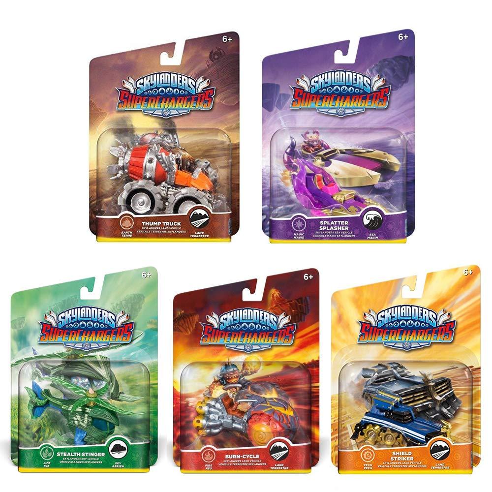 Skylanders SuperChargers Vehicle Character Pack (5) Pack Bundle: Shield Striker, Thump Truck, Splatter Splasher, Stealth Stinger, Burn-Cycle