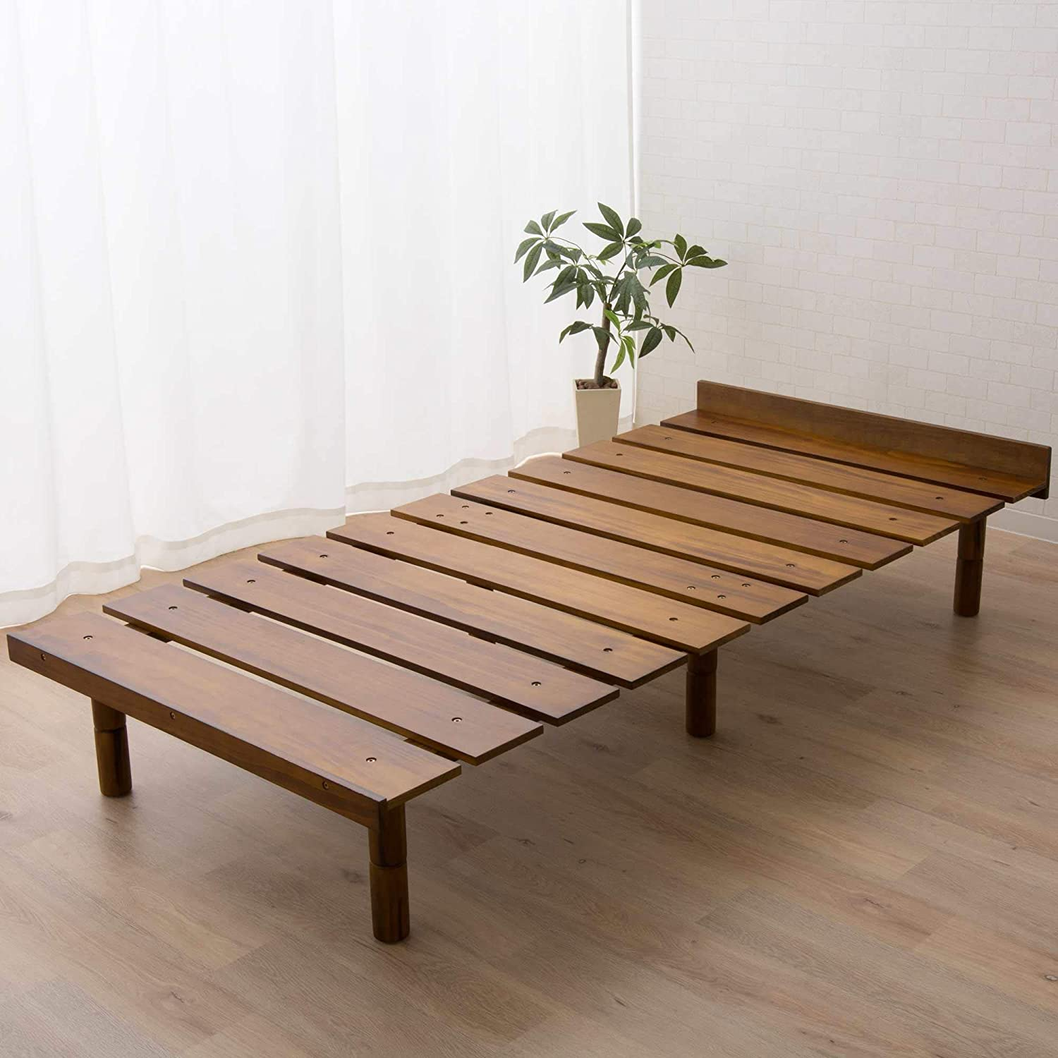 EMOOR Solid Pine Wood Slatted Platform Bed Frame OSMOS for Japanese Twin Size Futon Mattress (39x79in), Height Adjustable (2/7/12in), Retro-Brown