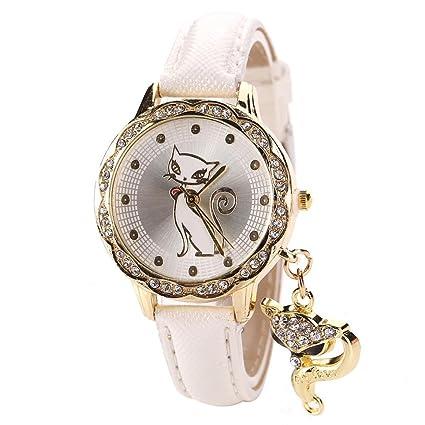 Vovotrade Moda joya mujer gato colgante de diamantes de lujo de cristal analógico de cuarzo reloj