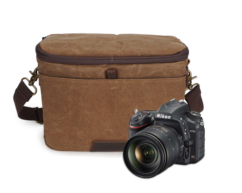 MUMUWU Mens Cross Style Bag Casual Shoulder Camera Bag Batik Canvas with Crazy Horse Bag SLR Waterproof Color : Bronze, Size : M