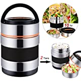 Thermal Lunch Box, Vacuum Insulated Lunch Box Food Carrier Bento Box Thermal Insulating Stainless Steel Lunch Box Containers Hold Warm for 8 Hours with Folding Spoon, 1.6L (Orange 1) (Black)