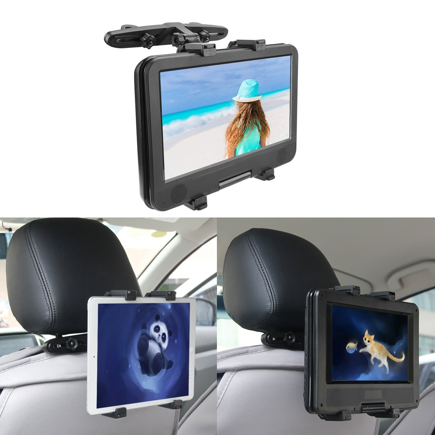 COOAU Adjustable iPad Car Holder, Car Backseat Headrest Extension Mountable Holder 7'' to 12'' inch iPad Pro/iPad Air/iPad Mini, Tablets, Samsung Galaxy Tab, Kindle Fire, Portable DVD Players