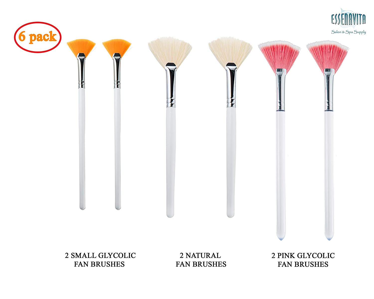 essenavita fan mask brush set of 6 pieces mask application fan brush glycolic fan brush boar head fan brush