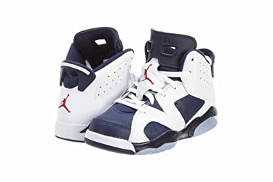 Nike Air Jordan 6 Retro (PS) Boys Basketball Shoes 384666-130 White 11.5