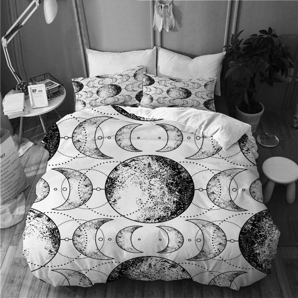 BOKEKANG Duvet Cover Set Full/Queen Size Triple Moon Pagan Wicca Goddess Symbol Light Weight Bedding Set 1 Duvet Cover with 2 Pillowcases