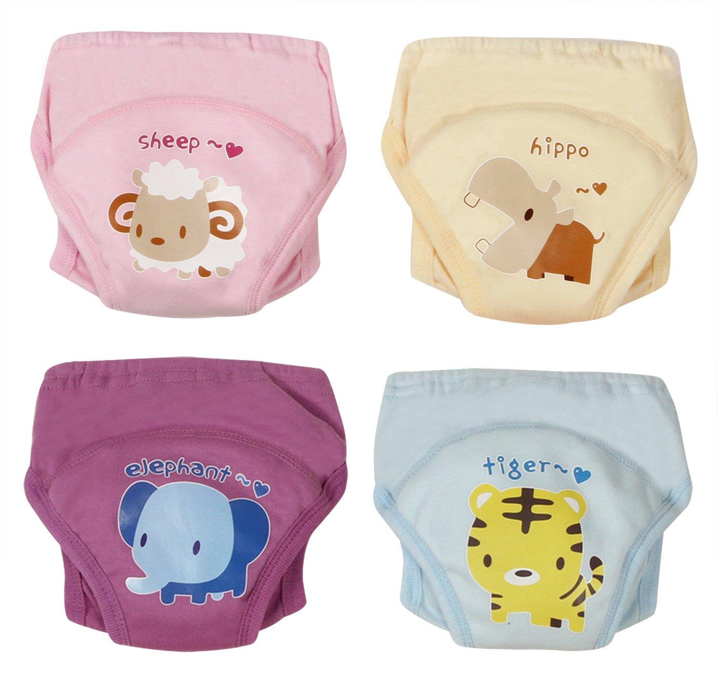 Baby 4 Pack Toilet Training Pants Nappy Underwear 4 Layers Cotton Waterproof TPU Sheep Hippo Giraffe Zebra Size 90 Joyo roy JR001018