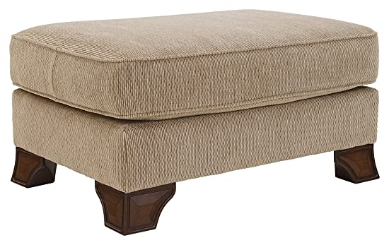 Signature Design by Ashley – Lanett Traditional Plush Top Foot Rest Ottoman, Barley