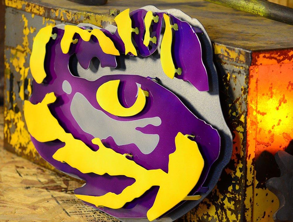 Gear New Louisiana State University Tiger Eye 3D Vintage Metal College Man Cave Art, Large, Purple/Yellow