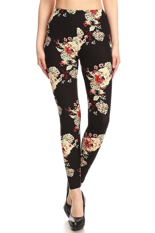 Leggings Mania PANTS レディース B07BRHV22L One Size Fits Most (0-12)|ブラック花柄 ブラック花柄 One Size Fits Most (0-12)
