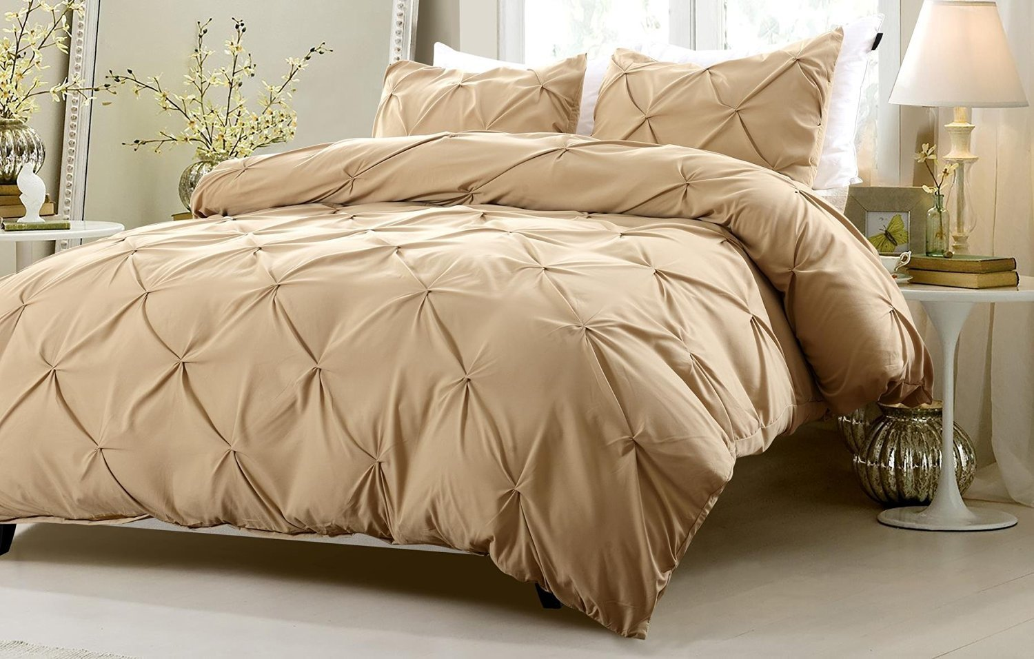 3pc Pinch Pleat Design Khaki Bedding Set
