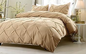 2pc pinch pleat design khaki duvet cover set style twintwin xl - Twin Xl Duvet Covers