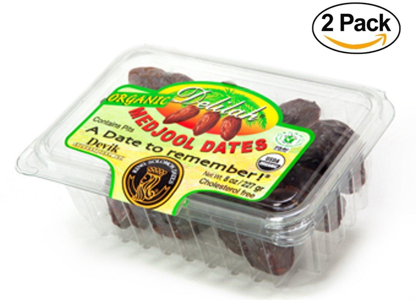 King Solomon Delilah 100% Organic Premium Medjoul (Medjool) Dates, 2-8oz Packs