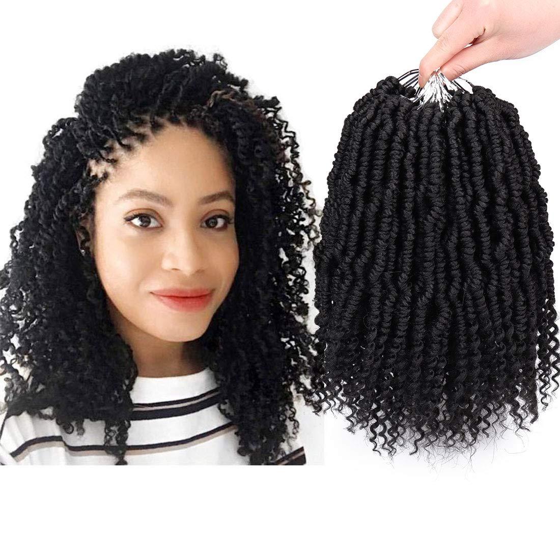 Liyate Bomb Twist Crochet Hair 10 Inch 6 Packs Spring Twist Braiding Hair Pretwisted Passion Twist Crochet Braids Passion Twist Mini Twist Hair with Curly End(1B)