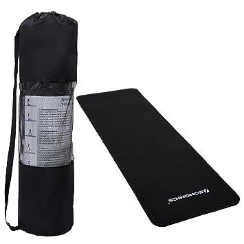 SONGMICS Colchoneta de Yoga Esterilla para Pilates Negro FYG