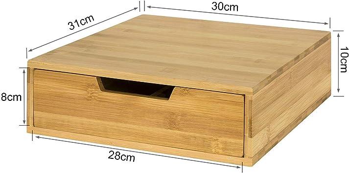 Bo/îte de Rangement /à tiroirs en Bambou SoBuy/® FRG70 Support pour Moniteur avec rangements Support /écran Ergonomique pour Bureau