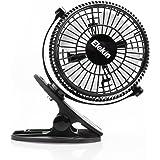 Elekin 720° Rotación clip ventilador de mesa mini USB ventilador de refrigeración de personal portátil ventilador electrónico de mesa para el hogar oficina dormitorio dormitorio etc.–-Negro