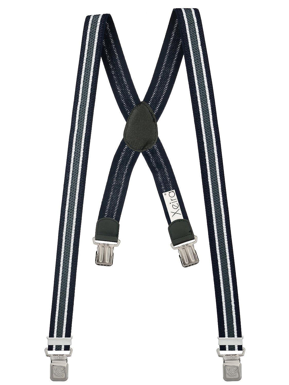 Xeira  Bretelles X-Design de haute qualité pour Femmes/Homme avec 4 Extra fort Eagle clips dans 15 Couleurs - avec 4 XL Eagle CLIP