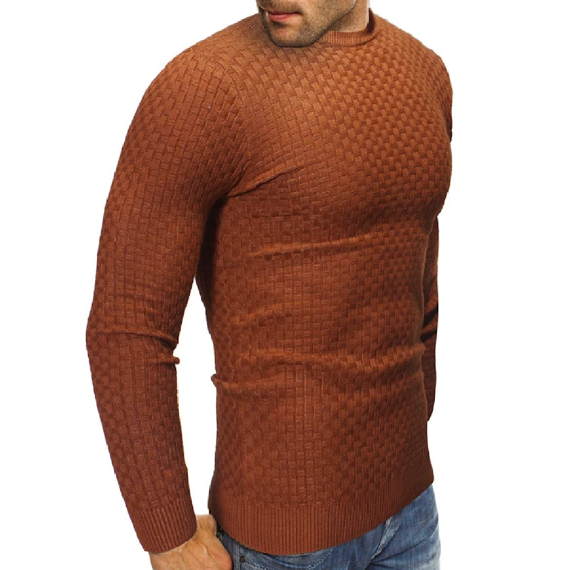 Abetteric Mens Autumn Winter Pure Color Crew Neck Knitwear Pullover Cozy Sweaters