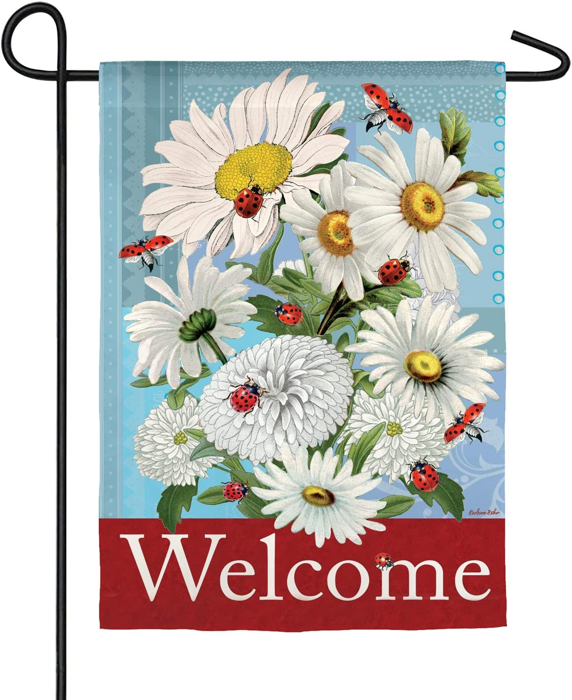 Evergreen Flag Beautiful Daisies and Ladybugs Double Sided Suede Garden Flag - 13 x 18 Inches Fade and Weather Resistant Outdoor Flag for Homes, Yards and Gardens