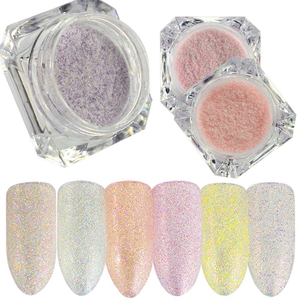 meicailin 6 paquetes polvo de purpurina holográfico 1 G/caja azúcar brillante purpurina polvo polvo Nail Art Decoración: Amazon.es: Belleza
