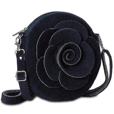 c3aeb58905b5e CASPAR Damen kleine Tasche Umhängetasche aus Filz mit Blüten Dekor - viele  Farben