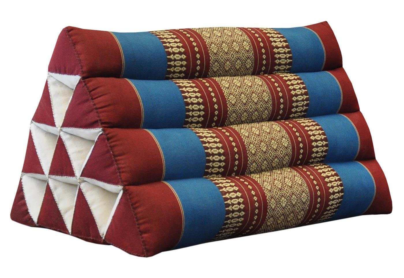 Thai triangular cushion, red/blue, relaxation, beach, kapok, made in Thailand. (81200)
