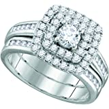 14kt White Gold Womens Round Diamond Solitaire Double Halo Bridal Wedding Engagement Ring Band Set 7/8 Cttw = 0.94 (SI3 clarity; G-H color)