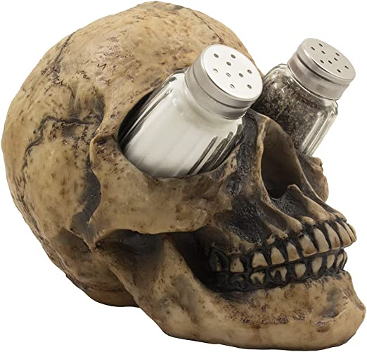 Human Skull Salt and Pepper Shaker Set with Decorative Display Stand Halloween.