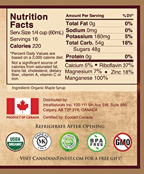 CANADIAN FINEST Maple Syrup   #1 Rated Maple Syrup on Amazon - 100% Pure  Certified Organic