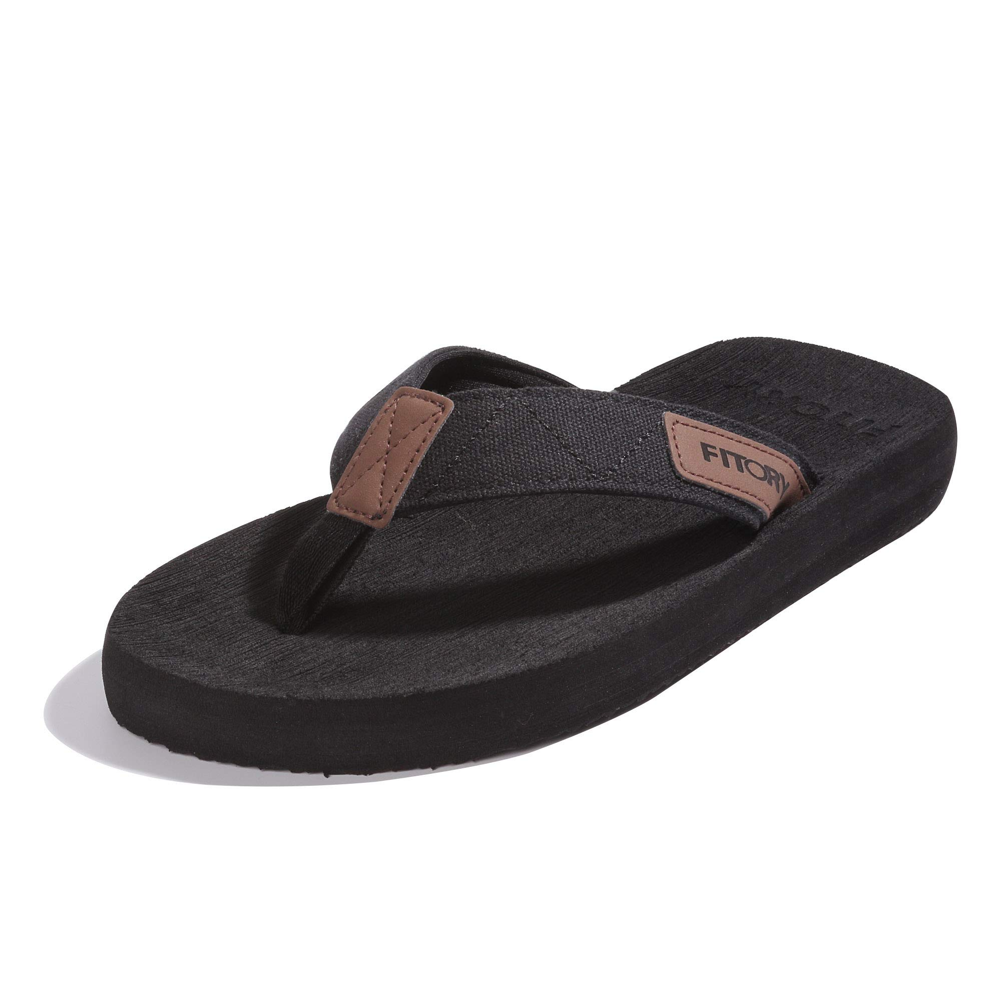 FITORY Men's Flip-Flops, Arch Support Thongs Comfort Slippers for Beach Size 7-13