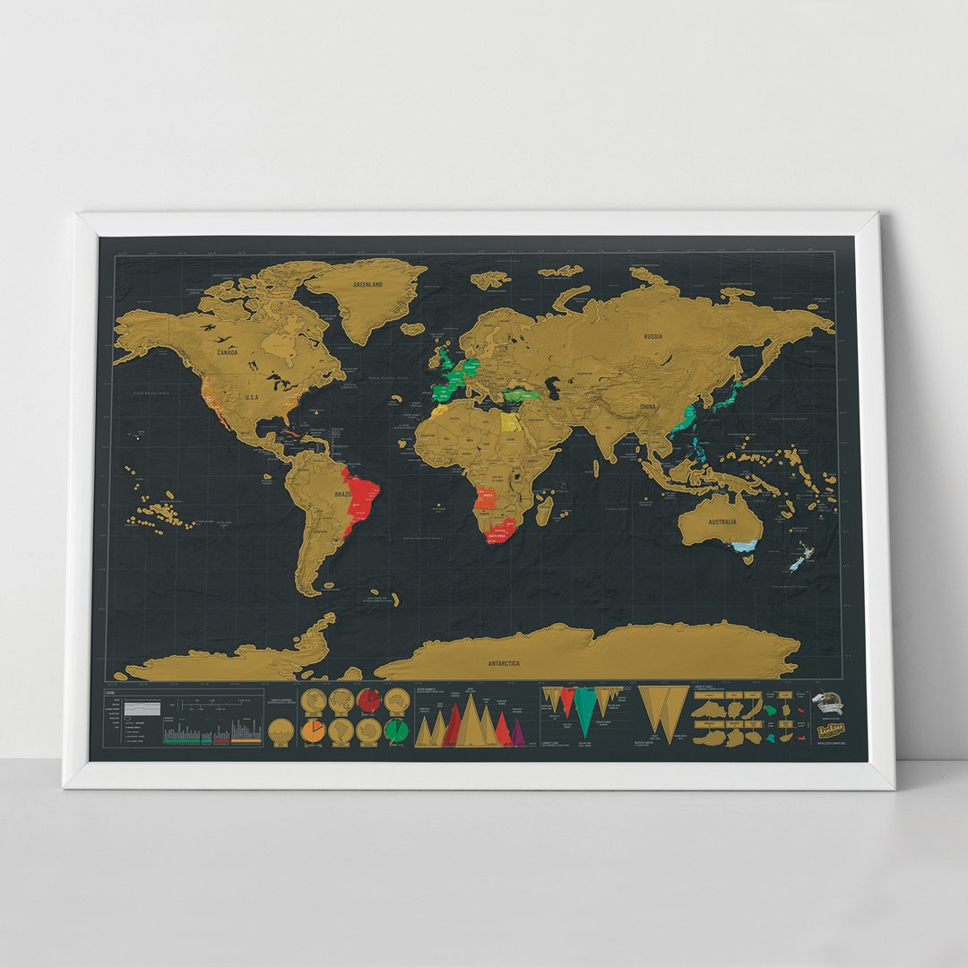 Scratch map deluxe edition personalised world map poster travel scratch map deluxe edition personalised world map poster travel gift luckies of london amazon office products gumiabroncs Choice Image
