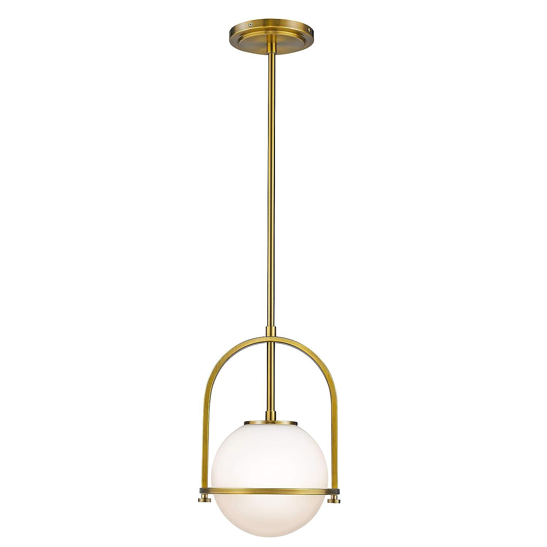 Modern pendant lights lms 1 light hanging light fixturebrushed brass finished with white globe glass lampshade