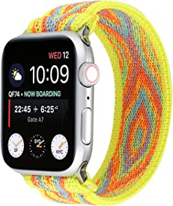 OnederHome Stretchy Sport Loop Strap Compatible for Apple Watch Band 38mm 40mm 42mm 44mm iWatch Series 6/SE/5/4/3/2/1 Stretch Elastics Wristbelt (Yellow, 42/44mm for Normal/Large Wrist)