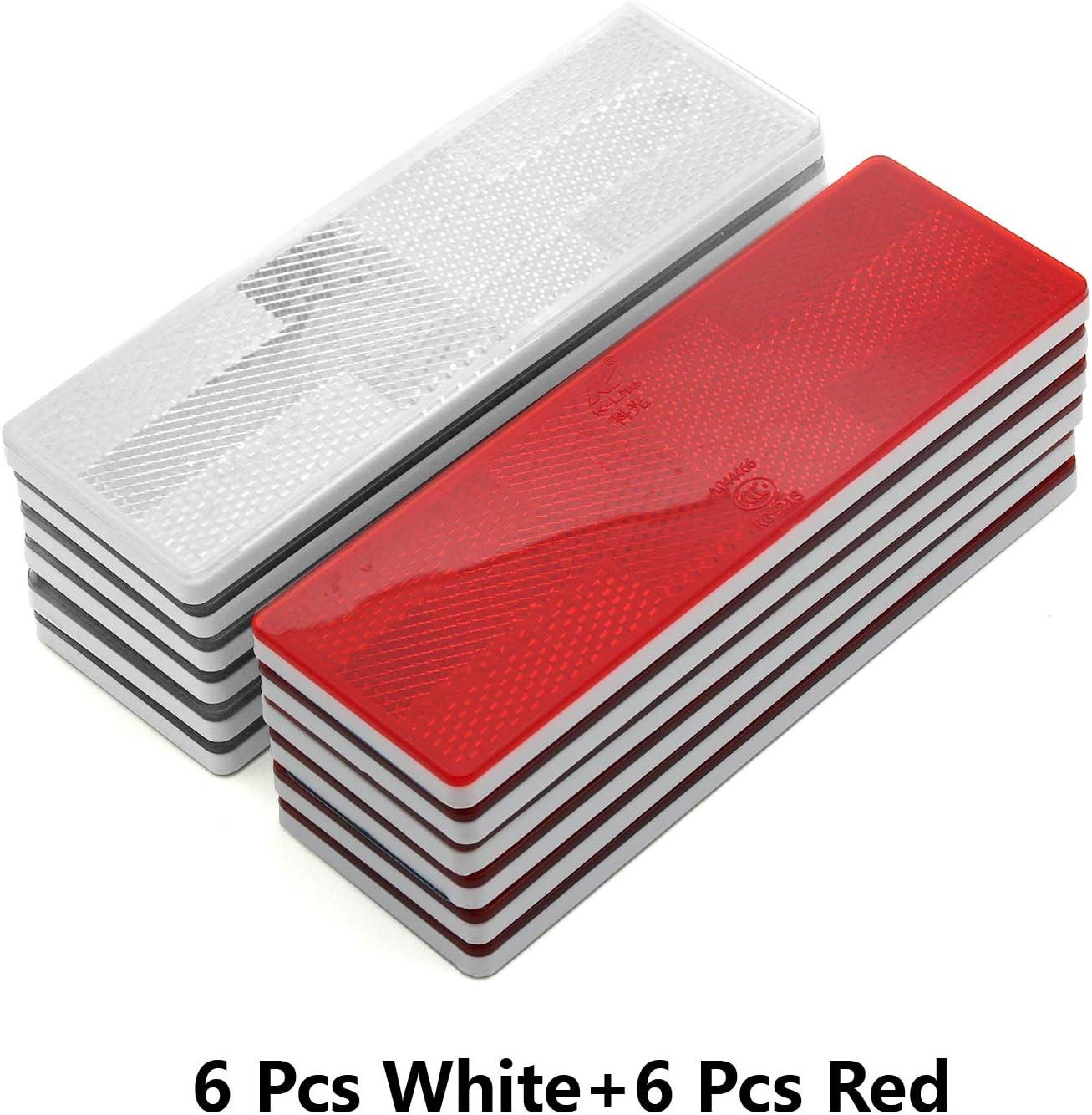6pcs White + 6pcs Red BSK 6 Rectangular Stick-on Reflectors