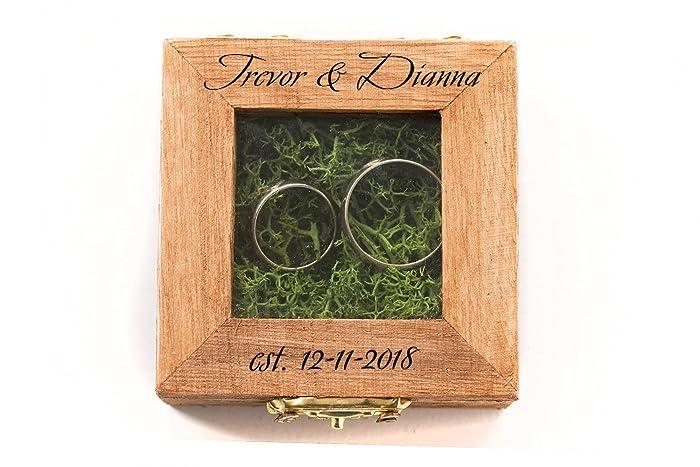 Amazoncom Personalized Wedding Box Glass Ring Box Wedding Ring