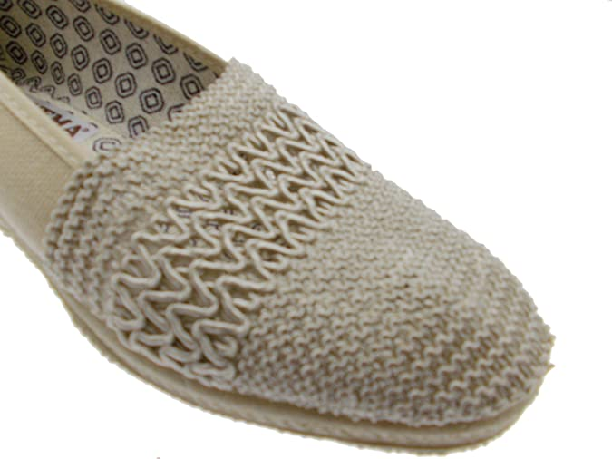 pantofola beige elasticizzata cotone extra large zeppa pizzo Davema