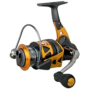 Image result for Okuma Trio High-Speed Spinning Reel, Black/Orange