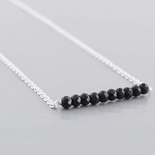 e23edbeed48 Amazon.com: Dainty Black Spinel Bar Necklace with Sterling Silver ...