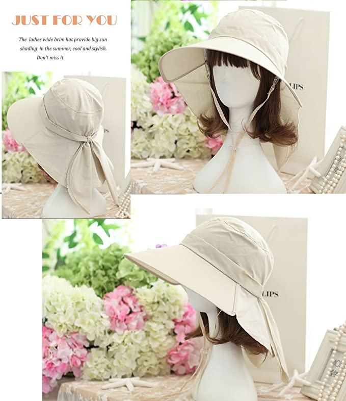 be76790bafe HINDAWI Sun Hat Wide Brim Sun Hats for Women UV Protection Floppy Beach Womens  Summer Flap Cover Cap Beige at Amazon Women s Clothing store