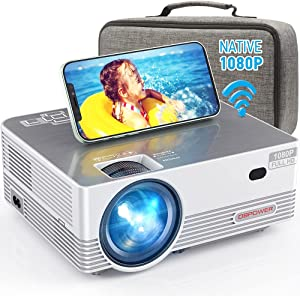 Native 1080P WiFi Projector, DBPOWER 8000L Full HD Outdoor Movie Projector Support iOS/Android Sync Screen&Zoom, Home Theater Video Projector Compatible w/Laptop/PC/DVD/TV/PS4 w/Carrying Case Included