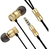 GGMM Earphones,In-Ear Metallic Headphones with Mic,Noise Isolating,Updated Version Deep Bass,High Fidelity for iPhone, Android Smartphones and MP3 Players etc (Gold)